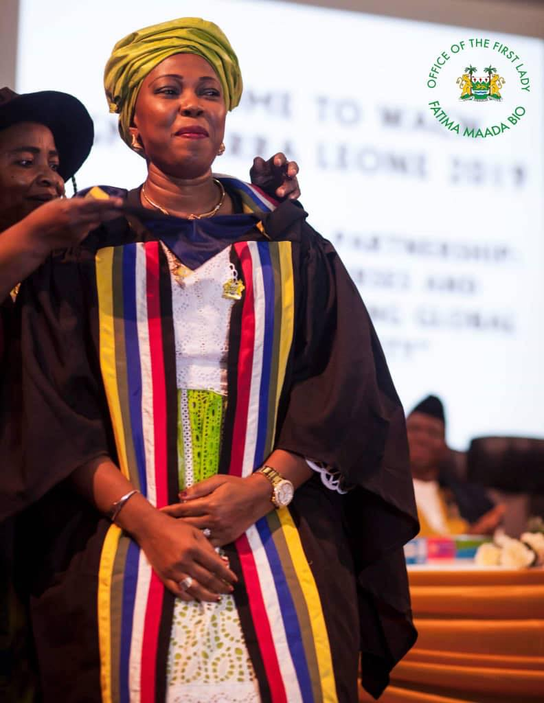 FIRST LADY, H.E. MADAM FATIMA MAADA BIO ROBED AS HONORARY FELLOW OF THE WEST AFRICAN COLLEGE OF NURSING.